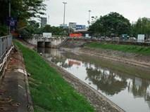 Nước sông Tô Lịch đổi màu từ đen sang nâu: