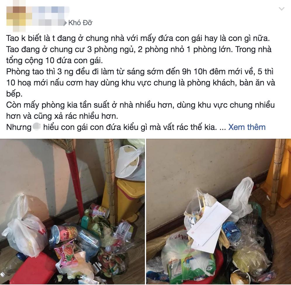 Thêm gái xinh ở bẩn khiến dân mạng ngán ngẩm: Nhắc 3 lần vẫn vứt rác giữa nhà, lơ đẹp luôn cả tiền sinh hoạt-1