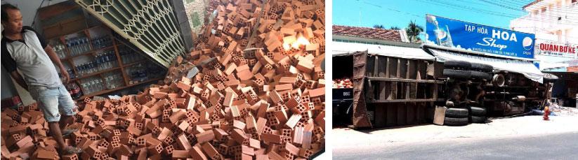 Clip: Khoảnh khắc xe tải chở gạch lao vào cửa hàng tạp hoá, nhiều người la hét bỏ chạy-1