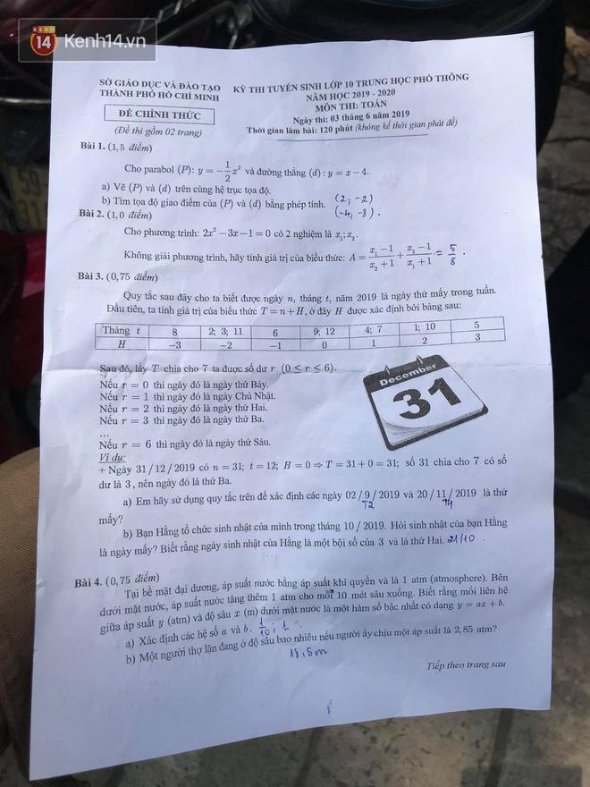 Đáp án môn Toán vào lớp 10 tại TP HCM năm 2019-7