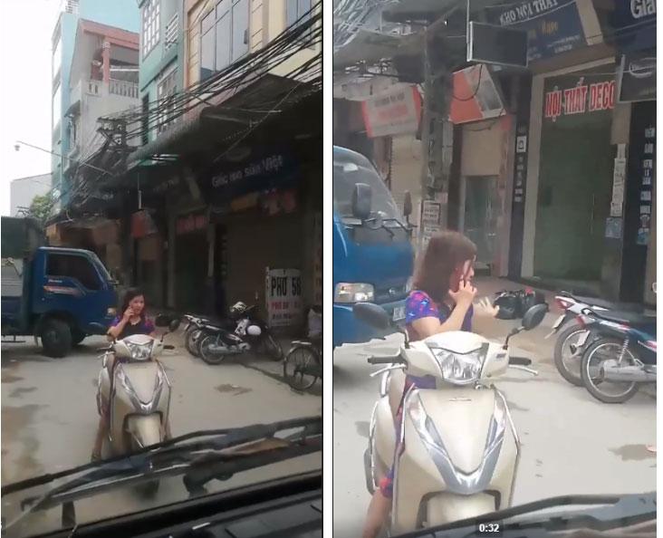 Bức xúc nữ ninja vô tư dừng xe đứng giữa đường nghe điện thoại bỏ mặc người khác bíp còi inh ỏi-2