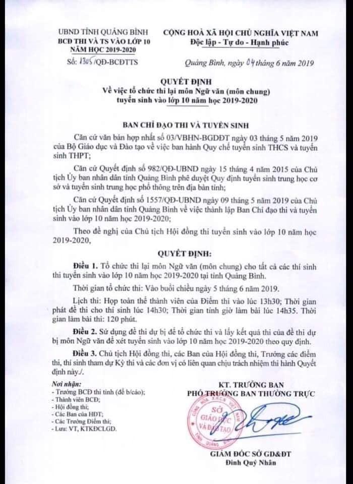 6.400 học sinh Quảng Bình phải đi thi lại môn Ngữ Văn vào lớp 10 vì giám thị ký nhầm ô 24 bài thi-1