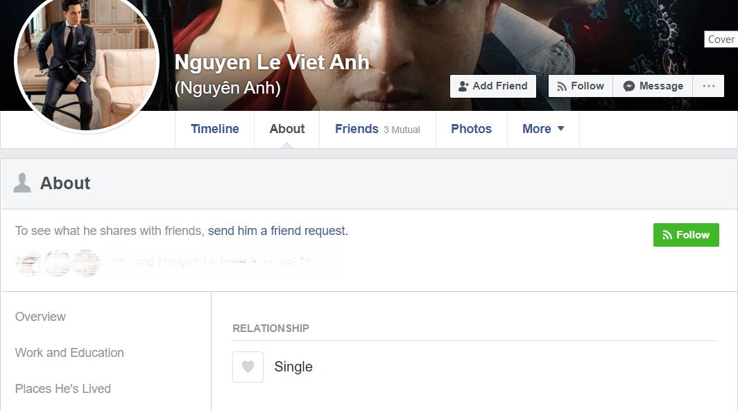 Giữa lúc thông tin vợ chồng trục trặc rộ lên, cả hai vợ chồng diễn viên Việt Anh đều cập nhật trạng thái độc thân.-1