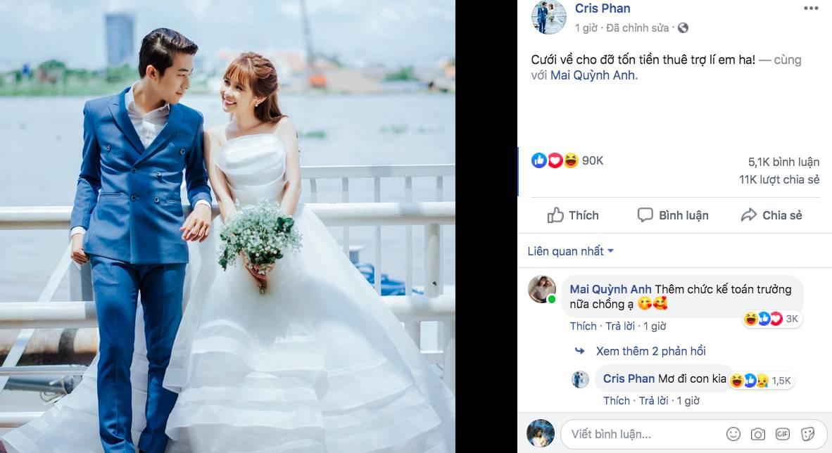 HOT: YouTuber đình đám Cris Phan đăng ảnh cưới, chuẩn bị kết hôn với hotgirl Mai Quỳnh Anh vào tháng 6-1
