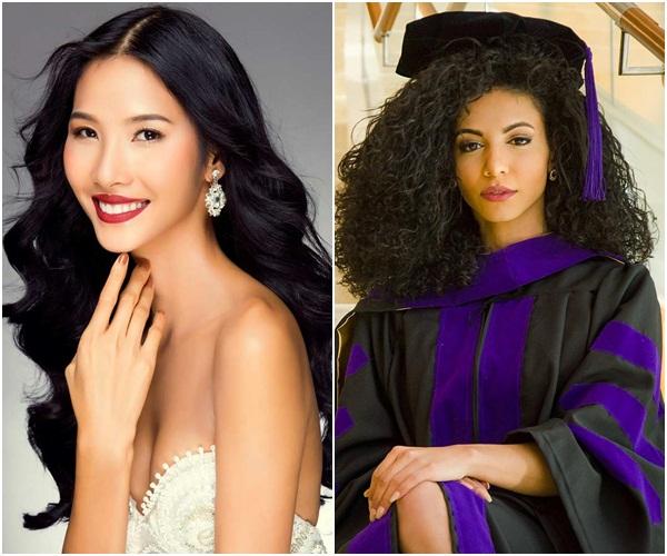 Cuộc chiến váy áo cực gắt của Hoàng Thùy và đối thủ Miss Universe 2019 khi cùng khoác chăn con công-9