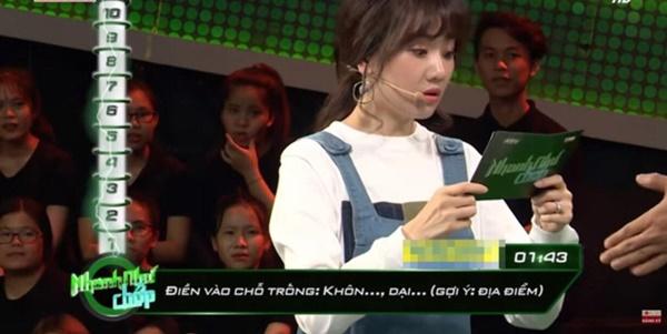 Hari Won tiếp tục lộ khuyết điểm kiến thức cơ bản khi dẫn chương trình Nhanh như chớp-3
