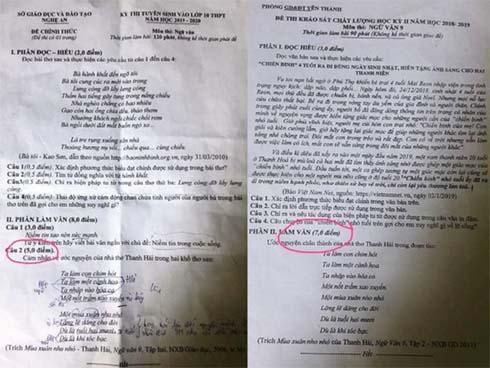 Đề thi vào lớp 10 môn văn ở Nghệ An gần giống đề kiểm tra học kỳ-1