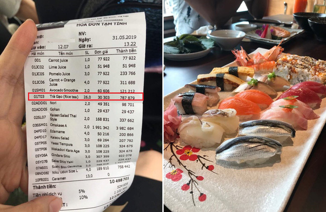 Khách tố ăn sushi 7 triệu, tiền trà 1 triệu, nhà hàng phản ứng bất ngờ-1