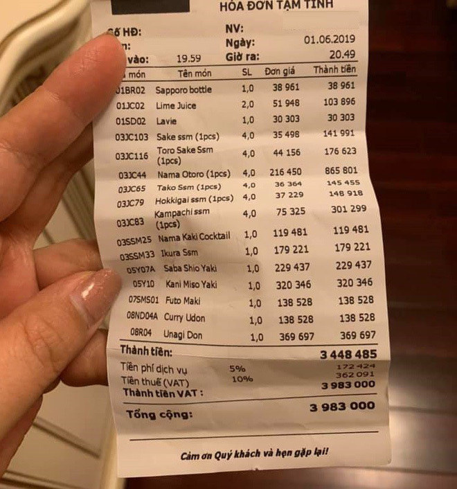 Khách tố ăn sushi 7 triệu, tiền trà 1 triệu, nhà hàng phản ứng bất ngờ-2