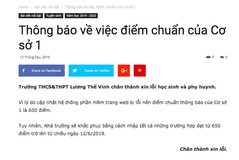 Trường Lương Thế Vinh xin lỗi vì trang web bị lỗi, nhầm điểm chuẩn từ 650 thành 670 khiến học sinh khóc ròng-1
