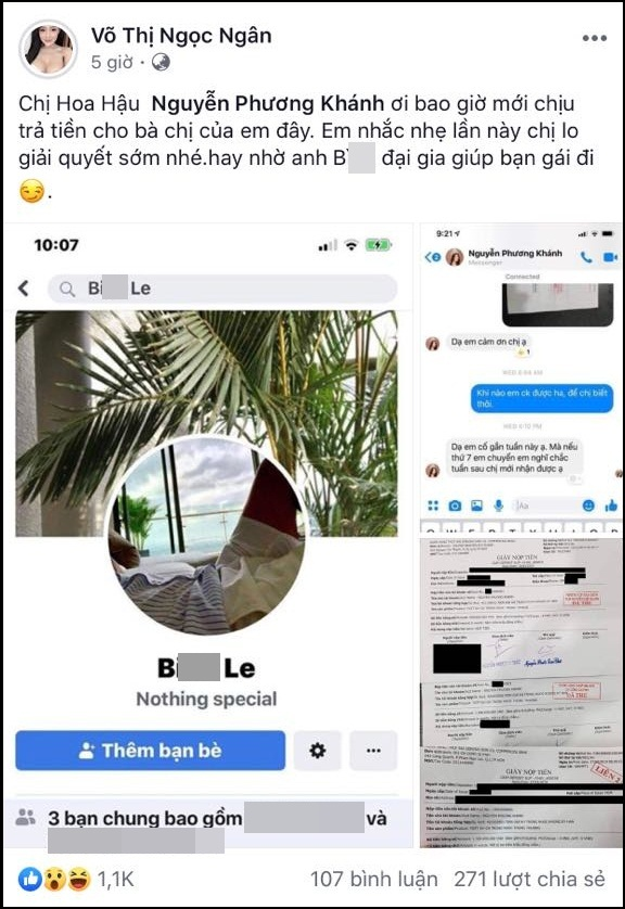 Hot girl ngực khủng Ngân 98 tung bằng chứng Hoa hậu Trái đất Phương Khánh vay nợ tiền tỷ mãi không chịu trả-2