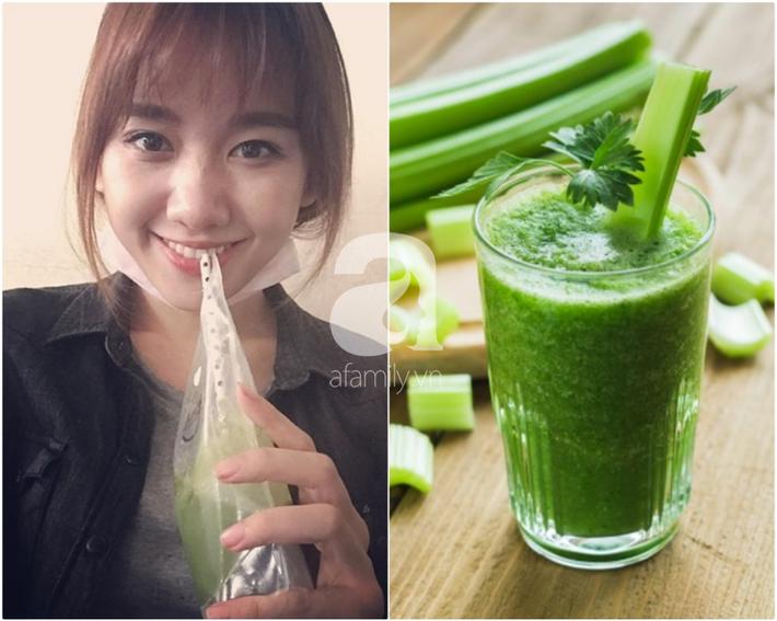 Uống nước ép cần Hari Won giảm 6kg trong 2 tháng, nhiều sao khác cũng đang dưỡng da giữ dáng bằng cốc nước thần thánh này-1