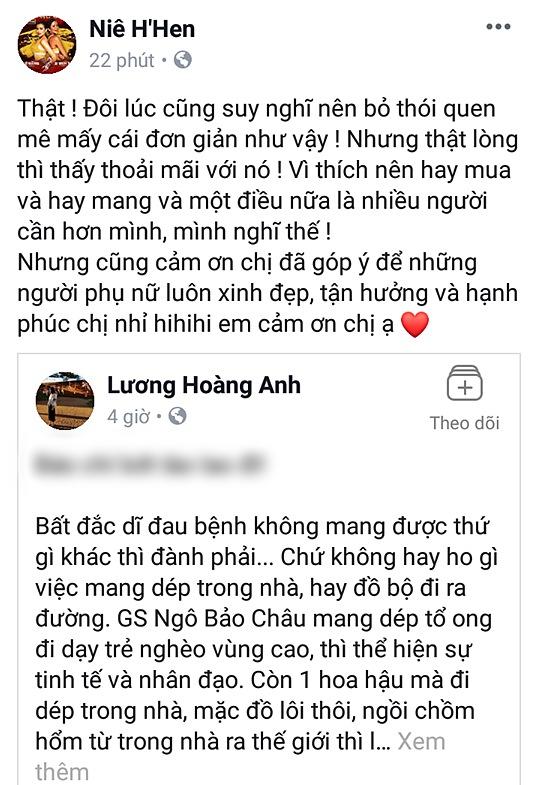 Sau khi mắng HHen Niê quê mùa lôm côm, vợ cũ Huy Khánh tiếp tục yêu cầu Hoa hậu Hoàn vũ phải tự trọng hơn vì đi dép tổ ong-2