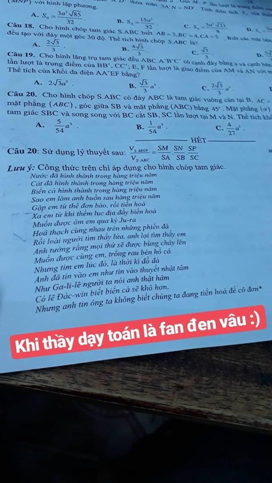 Thầy giáo bắt trend cực mạnh, in lời bài hát của Đen Vâu vào đề thi cho học sinh... xả stress!-1