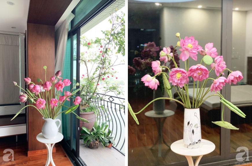 Níu giữ hương mùa hạ với những bình hoa sen đẹp dịu dàng trong tổ ấm của 3 người phụ nữ đảm ở Hà Nội-9