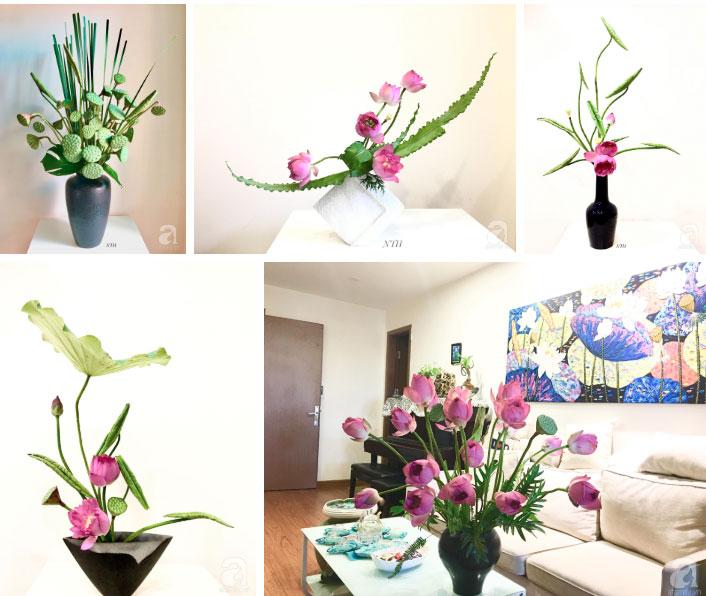 Níu giữ hương mùa hạ với những bình hoa sen đẹp dịu dàng trong tổ ấm của 3 người phụ nữ đảm ở Hà Nội-23