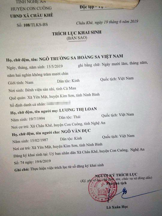 """Cặp vợ chồng đặt tên con dài 7 chữ cái gây sốt MXH: Ngô Trường Sa Hoàng Sa Việt Nam""""-1"""