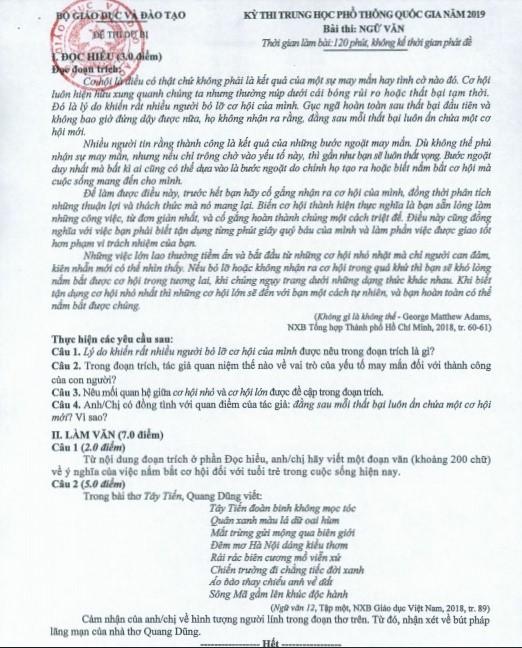 Đáp án chính thức môn Ngữ văn thi THPT quốc gia của Bộ GD-ĐT-7