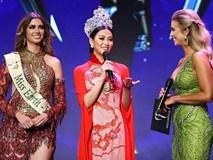 Hoa hậu Phương Khánh diện áo dài lộng lẫy dự đêm chung kết Hoa hậu Trái đất Mỹ