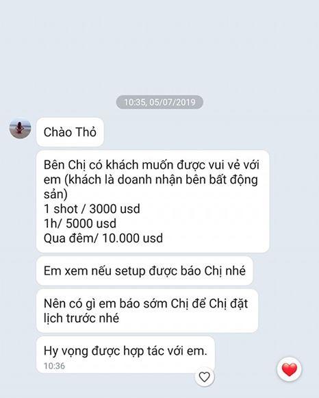 Hot girl Mai Thỏ công khai tin nhắn bị gạ đi khách 1 shot hơn 60 triệu đồng, qua đêm tận 10.000 USD-2