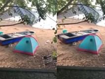 Dựng lều trên bờ biển rồi thản nhiên