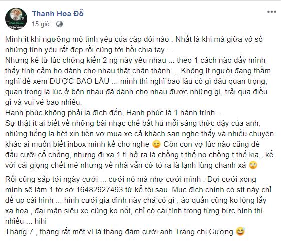 Bạn thân tiết lộ chi tiết choáng về Cường Đô La và Đàm Thu Trang: Vợ giữ tiền, thường đè đầu cưỡi cổ chồng-1
