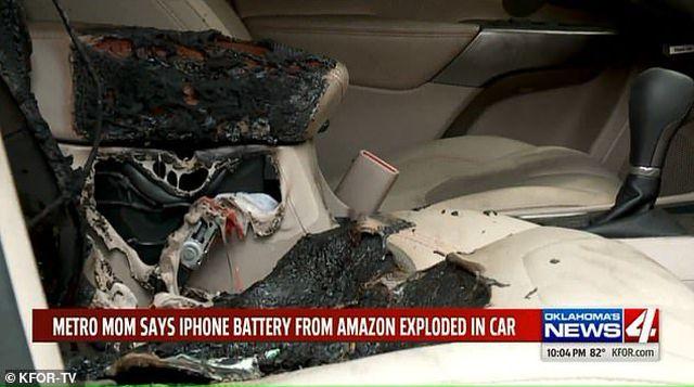 iPhone đặt trong ô tô bất ngờ phát nổ khiến nội thất xe bị bốc cháy-1