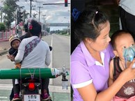 Có gì bằng tình cha nghĩa mẹ: 2 ngày 1 lần, cặp vợ chồng lại đi xe máy 120km đổi bình oxy để giữ mạng cho con