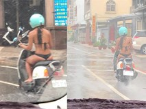 Mặc bikini bé xíu rồi lái xe máy giữa trời mưa, cô gái khiến dân tình