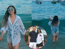 Diện bikini một mảnh đi biển, bạn gái Quang Hải gây tranh cãi vì khoảnh khắc hớ hênh vòng 3 khi chiếc áo choàng mỏng bất ngờ phản chủ