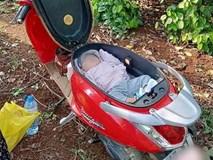 Hình ảnh em bé ngủ trong cốp xe máy khi theo bố mẹ đi rẫy, người khen dễ thương, người giật mình sợ nguy hiểm