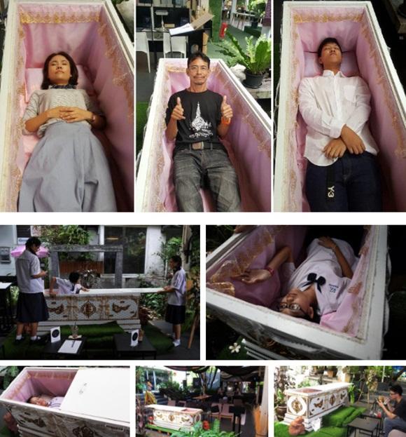 Bên trong quán cà phê chết chóc ở Thái Lan: Khách tha hồ nằm trong quan tài cảm nhận cái chết, đi dạo quanh địa ngục, chụp ảnh với hài cốt-4