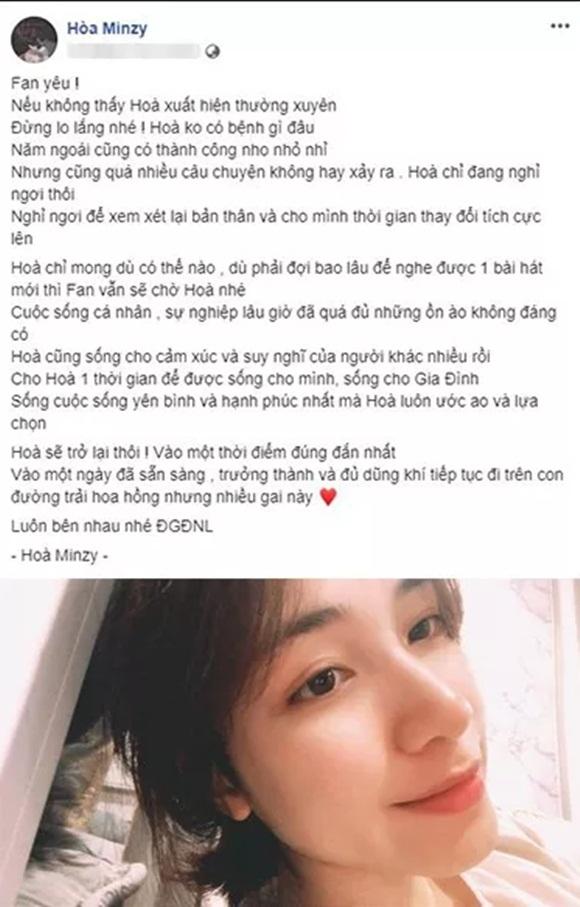 Sau Hương Tràm, Hòa Minzy bất ngờ tuyên bố dừng sự nghiệp-1