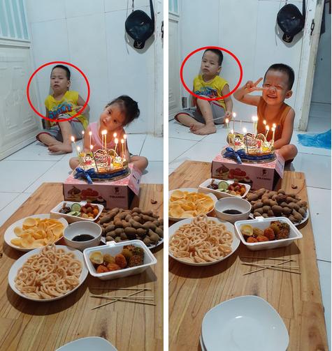 Sinh nhật mình mà 2 đứa em ăn ké quá nhiệt tình, cậu bé ra góc nhà ngồi nhìn các em diễn sâu khiến dân mạng cười bò-1