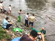 Hà Nội mưa như trút nước, người khốn khổ tát nước từ nhà ra sân, người hăng hái ra kênh bắt cá