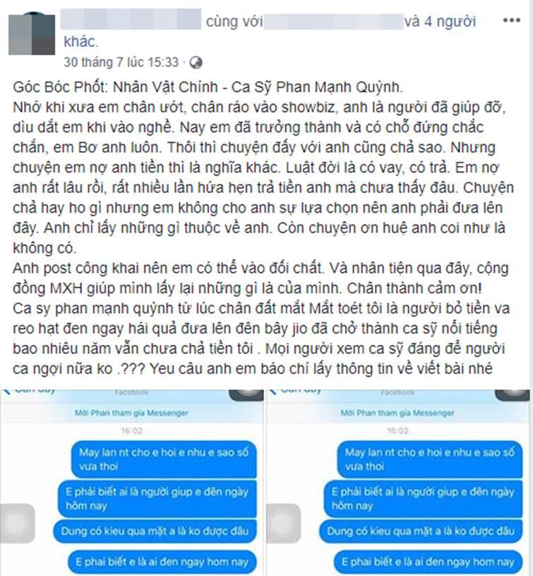 Phan Mạnh Quỳnh bị tố quỵt tiền, vô ơn với người từng nâng đỡ khi mới vào nghề nhưng người bóc phốt lại bị cộng đồng mạng ném đá đến mức phải xóa bài-2