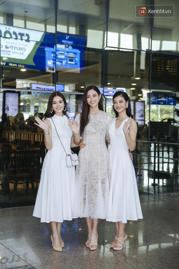 Tân Hoa hậu Lương Thùy Linh mặc giản dị, rạng rỡ cùng 2 Á hậu xuất hiện tại TP.HCM trong vòng tay người hâm mộ-3
