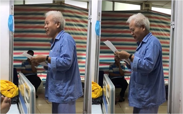 Clip: Cụ ông ung thư 74 tuổi đáng ngưỡng mộ với tinh thần lạc quan, trước khi phẫu thuật vẫn làm thơ động viên bạn cùng phòng bệnh-1