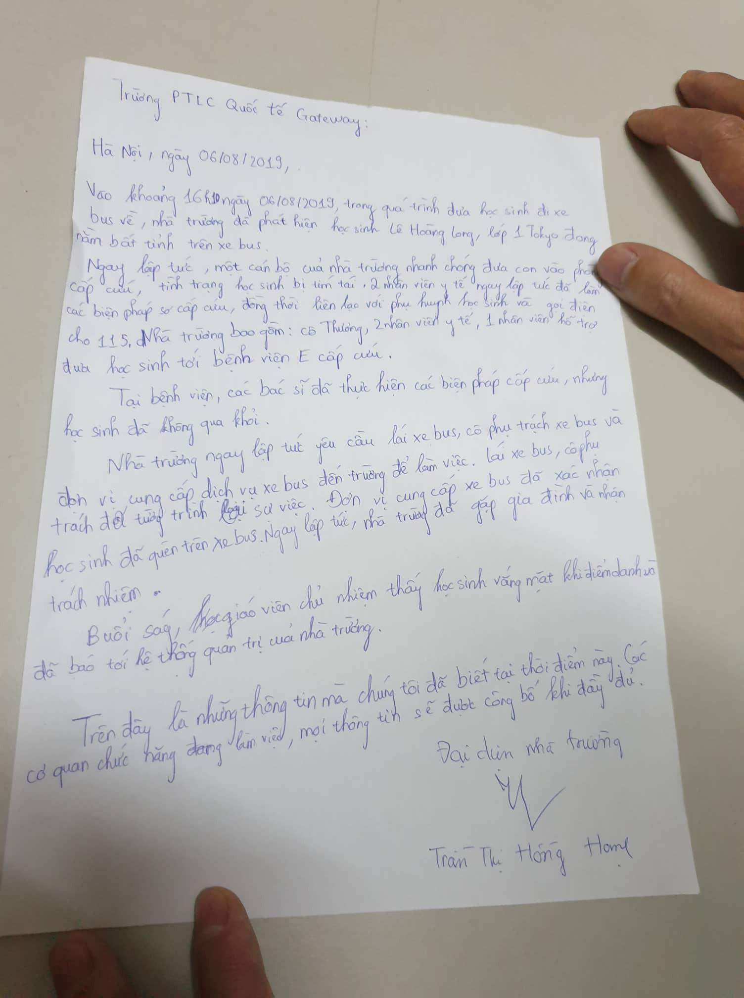 Hé lộ bản tường trình của trường quốc tế Gateway về vụ bé trai 6 tuổi tử vong, nghi bị thầy cô bỏ quên trên xe-2
