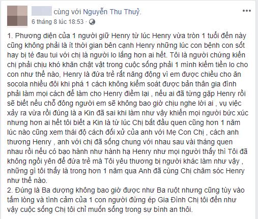Bảo mẫu của con trai Thu Thủy lên tiếng về Kin Nguyễn hậu lùm xùm cấu tay: Ba dượng không bao giờ được như ba ruột-1