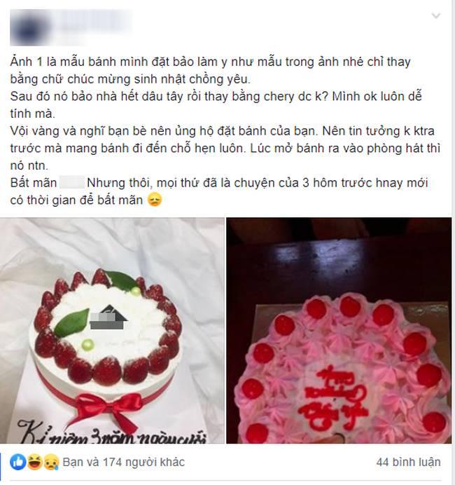 Tin tưởng đặt bạn làm bánh sinh nhật thanh lịch tặng chồng, vợ trẻ nào ngờ phải nhận về thành quả biến dạng, biến màu-1