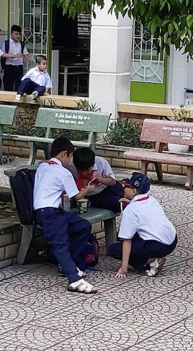 Khoảnh khắc đáng yêu nhất ngày: 3 cậu học sinh chia nhau ly mỳ ở ghế đá, tình anh em chí cốt đẹp đến thế là cùng-1