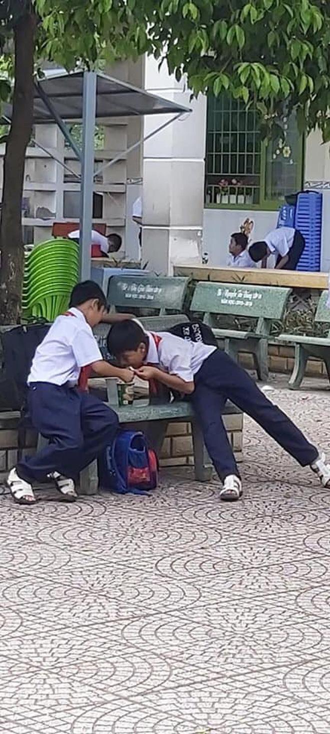 Khoảnh khắc đáng yêu nhất ngày: 3 cậu học sinh chia nhau ly mỳ ở ghế đá, tình anh em chí cốt đẹp đến thế là cùng-5