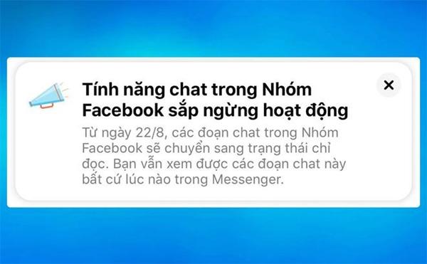 Thực hư thông báo Facebook ngừng tính năng chat nhóm-1