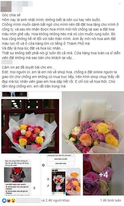Vụ chồng đặt hoa online tặng sinh nhật vợ từ hoa sang thành hoa tàn, không ngờ là từ shop của Shark Khoa-1