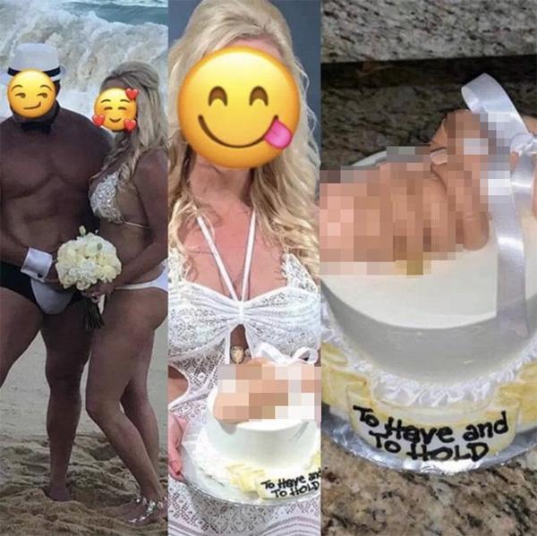 Cô dâu mặc bikini khiến quan khách bối rối, nhìn chiếc bánh cưới còn hốt hoảng hơn-1