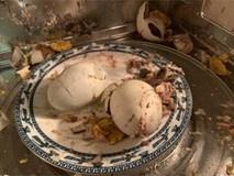 Em chồng than đói, chị dâu nhiệt tình cho trứng vào lò vi sóng và thành quả