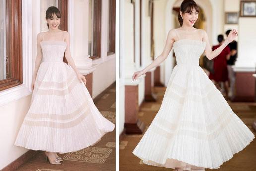 Nhã Phương đẹp tuyệt trần trong sắc trắng tinh khôi, nhưng sao chiếc đầm lại hao hao váy cưới của Đàm Thu Trang thế này?-1
