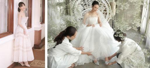Nhã Phương đẹp tuyệt trần trong sắc trắng tinh khôi, nhưng sao chiếc đầm lại hao hao váy cưới của Đàm Thu Trang thế này?-4