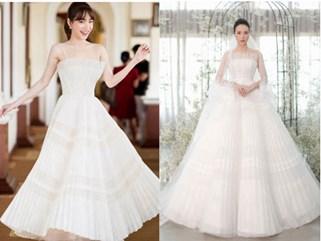 Nhã Phương đẹp tuyệt trần trong sắc trắng tinh khôi, nhưng sao chiếc đầm lại hao hao váy cưới của Đàm Thu Trang thế này?